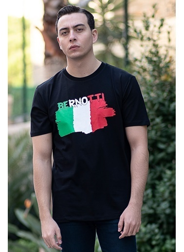 Bernotti 79 Siyah Baskı Detaylı Sıfır Yaka Erkek T-Shirt Siyah